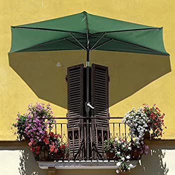 High Quality Yescom 9Ft Green Outdoor Patio Half Umbrella Cafe Wall Balcony Door 5 Ribs  Tilt Aluminum Sun Shade