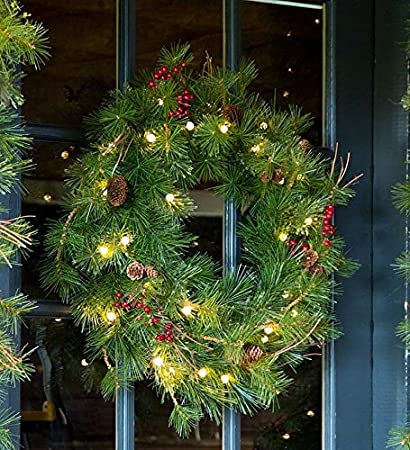 lighted outdoor battery operated holiday wreath with auto timer