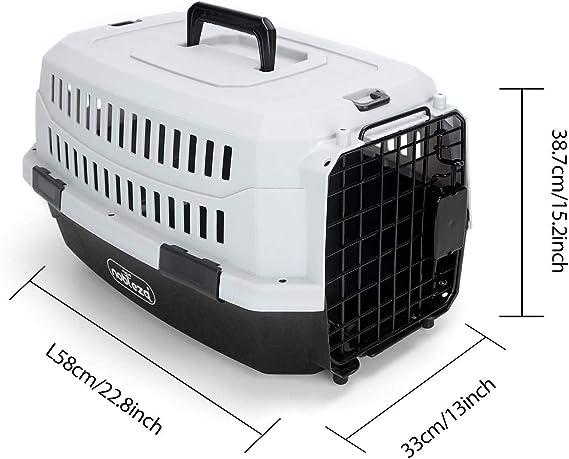 Nobleza - Transportín para Gatos Perros, Transportín de plástico M 58x38x33CM, transportador de Mascotas para Perros/Gatos/Avión Negro & Gris: Amazon.es: Productos para mascotas