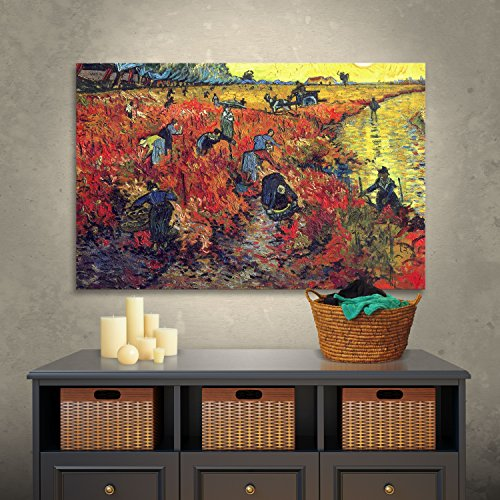 Art Wall Red Vineyard at Arles by Vincent van Gogh Gallery Wrapped Canvas, 32 by 48-Inch