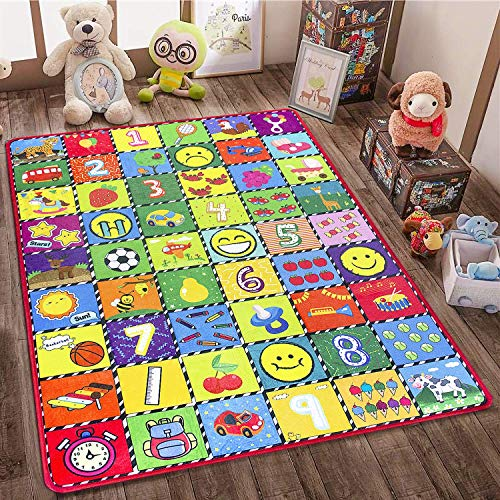 teytoy Kids Play Mat - How Many are There? Baby Area Rugs for Room Decor, Learn Numbers, Animals, Expressions, Family Beach Carpet Outdoor Indoor Educational Gift 3.4' x 5'