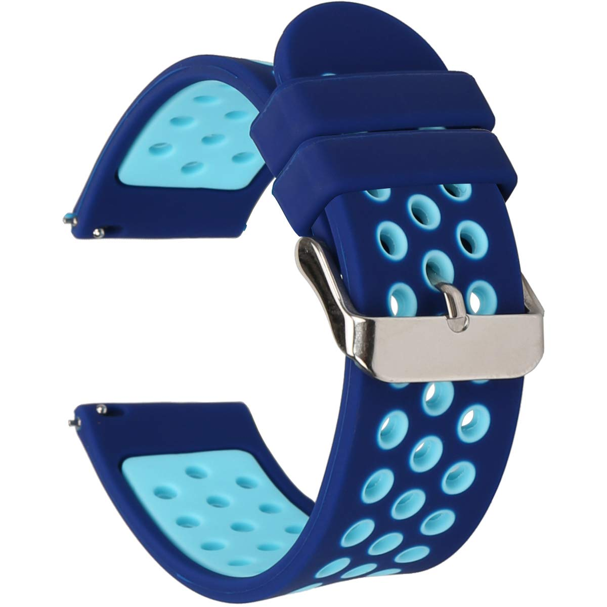Universal 18mm 20mm 22mm 24mm Width Silicone Watch Band Replacement (20mm, Blue) by wonlex