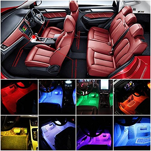 Car-LED-Strip-LightSuelight-4pcs-Auto-Interior-Music-LED-Strip-Lighting-Kit-Wireless-Remote-Control-and-Smart-USB-Port-8-colors48LED