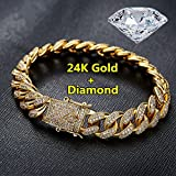 moahhally 2018 Fashion Mens Womens Chain Hiphop Iced Out Curb Cuban Diamond 18K Gold/24K