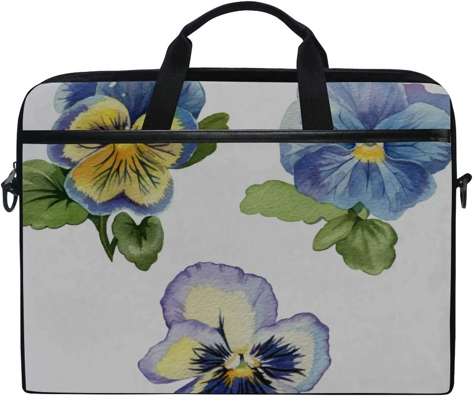 Laptop Bag On White Pansies Blue Depicted 15-15.4 Inch Laptop Case Briefcase Messenger Shoulder Bag for Men Women College Students Business People