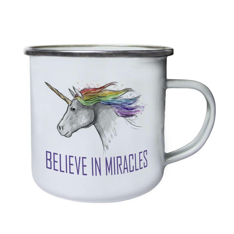 Believe in MiraclesユニコーンLuckノベルティレトロ、Tin、エナメル10ozマグp11e B06XHTV9ZX