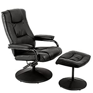 Recliner Swivel Chair Faux Leather Chair With Stool Lounge Swivel Chair And  Footstool Rest Chair With
