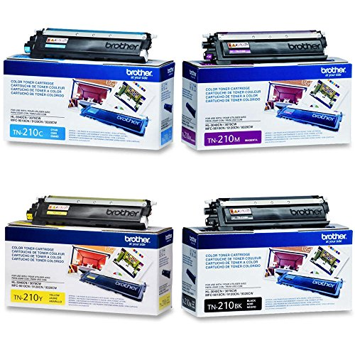 Brother Toner Cartridge Set, 4-Pack, Black, Cyan, Magenta, and Yellow (TN-210)