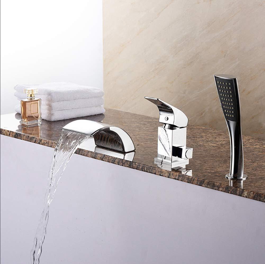 iMoebel Wannenrandarmatur 3 Loch Badewanne wasserhahn Wasserfall Armatur Duschsystem Bad mit ...