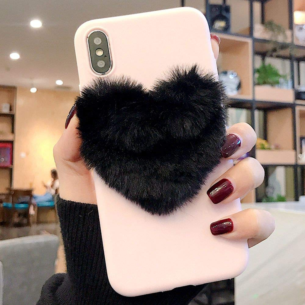 f8bd47610c LAFUNDA for iPhone X iPhone Xs Lovely Phone Case Fashion DIY Warm Fuzzy  Chic 3D Love Heart Plush Fuzzy Case Soft TPU Protective Cover Faux Hair  Designer ...