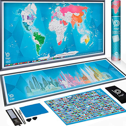 Scratch Off Map of The World + Skyline Art - World Map Poster Travel Gifts - 36x30