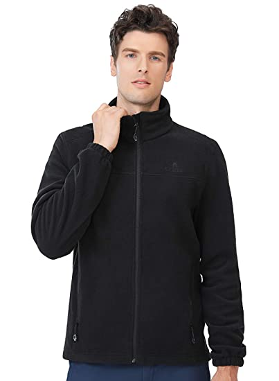Camel Mens Fleece Jackets with Pockets Soft Long Sleeve Full Zip Fleece Coat for Spring Outdoor