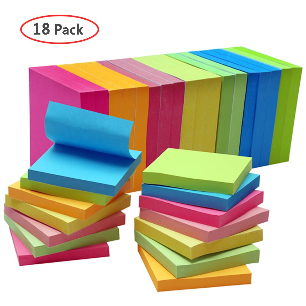 18 Pads Sticky Notes, 3 X 3 Inches Self-Sticky Notes, 100 Sheets/Pad, 7 Bright Colorful Stickies, Easy to Post at Office, Home