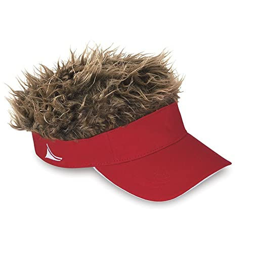 3bcd4fd6dca Amazon.com  Flair Hair Mens - Visor Cap Fake Hair Wig Novelty Gift With Red    Brown Hair  Sports   Outdoors