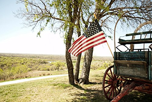 American Flag and Wagon (24x36 SIGNED Print Master Giclee Print w/Certificate of Authenticity - Wall Decor Travel Poster)