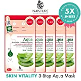 Naisture Aqua Face Mask Pack (5 Sheets), Aloe Vera 3 Step Full Facial Treatment with Hyaluronic Acid for Dry Skin - Vitality