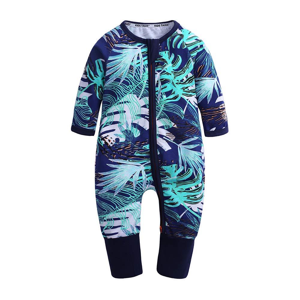 KIDS TALES Baby Girls 1 Piece Long Sleeve Pajama Baby Graphic Print Zipper Romper