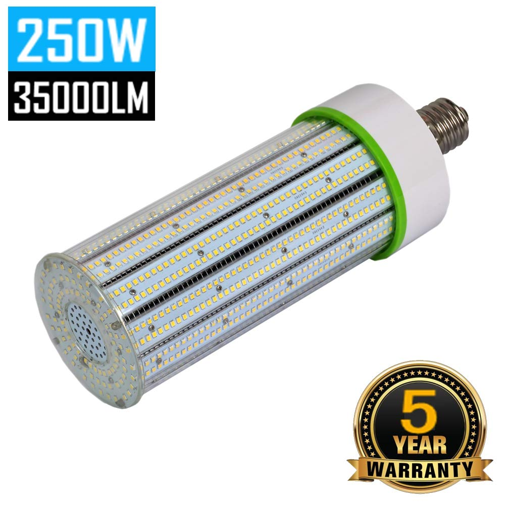 250W LED Corn Light Bulb, E39 Mogul Base LED Bulbs, 5000K Daylight 35000LM 1000Watt CFL HPS Metal Halide Equivalent, Large Area Lamp Replacement for Street, Garage, Warehouse High Bay Lighting