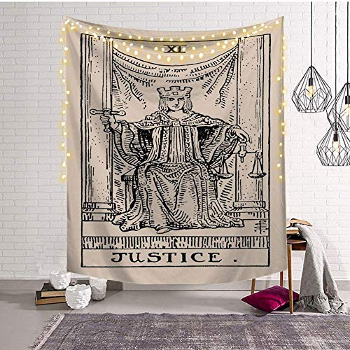 - Third Goddess Tarot Tapestry, Justice Style Design Decorative Wall Hanging Art Sets 50 x 60 Inches for Home Office & Dorm Decor (Justice)