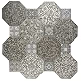 SomerTile FCG18IMD Imogen Ceramic Floor and Wall Tile, 17.75'' x 17.75'', Grey/White