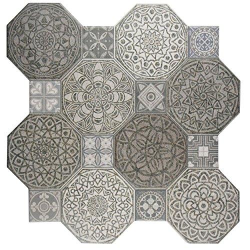 SomerTile FCG18IMD Imogen Ceramic Floor and Wall Tile, 17.75'' x 17.75'', Grey/White by SOMERTILE