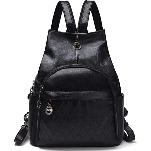 Small Leather Convertible Backpack Sling Purse Shoulder Bag for Women ( Black1) 1f0340eafc611