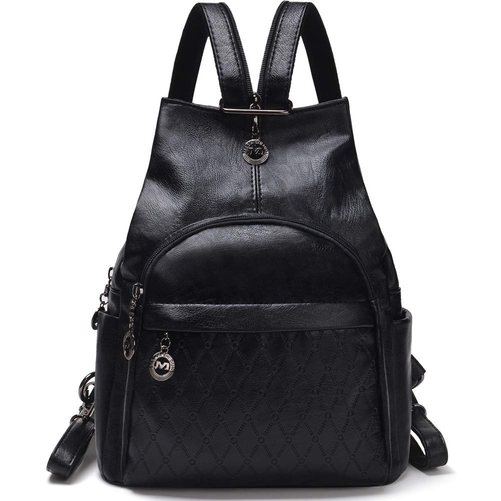 Small Leather Convertible Backpack Sling Purse Shoulder Bag for Women (Black1)