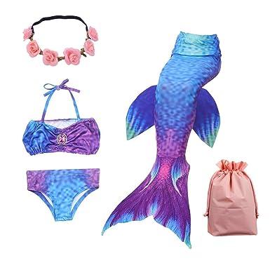 Lx-Top Cola de Sirena niña para Nadar Traje de baño de Set de ...