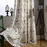 Cheap Swirl Leaf Curtain Blakcout Lined – KoTing 1 Panel Gray Embroidered Curtains Bedroom Drapes Grommet Top Extra Wide 100W by 96L Inch