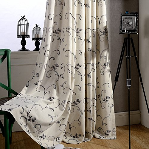 KoTing Swirl Leaf Curtains for Living Room 1 Panel Cotton Linen Gray Embroidered Decro Curtains Off White Drapes Grommet Top 50W by 63L Inch