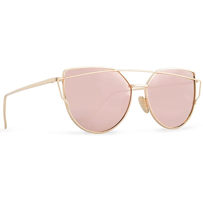 d1873159d1ccb Image Unavailable. Image not available for. Color  Mio Eyewear  Cateye - Pink  Mirrored  Fashion Sunglasses for Women (100% UV