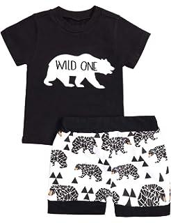 """/""""Wild One/"""" T-shirt /& Shorts 2pc Set baby unisex"""