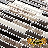 #7: Peel and Stick Self-Adhesive Backsplash Stick-on Vinyl Wall Tiles for Kitchen and Bathroom By Dandy Homes (Dark Marble, 6 pack)