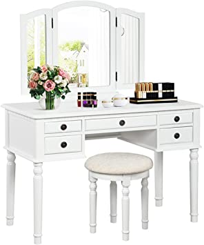 Charmaid Vanity Set With Tri Folding Mirror And 5 Drawers Modern Bedroom Vanity Table With Detachable Top And 180 Rotating Mirror Makeup Dressing Table With Cushioned Stool For Women Girls White Kitchen