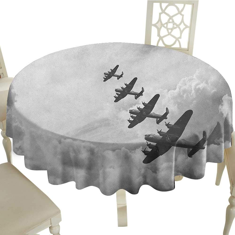 100% Polyester Washable Table Cloth for Circular Table 65 Inch Airplane,Retro Image of Lancaster Bomber Jets from Battle Royal Air Force in Clouds Plane,Black White Suitable for Party,outdoors,Farmhou by Cranekey