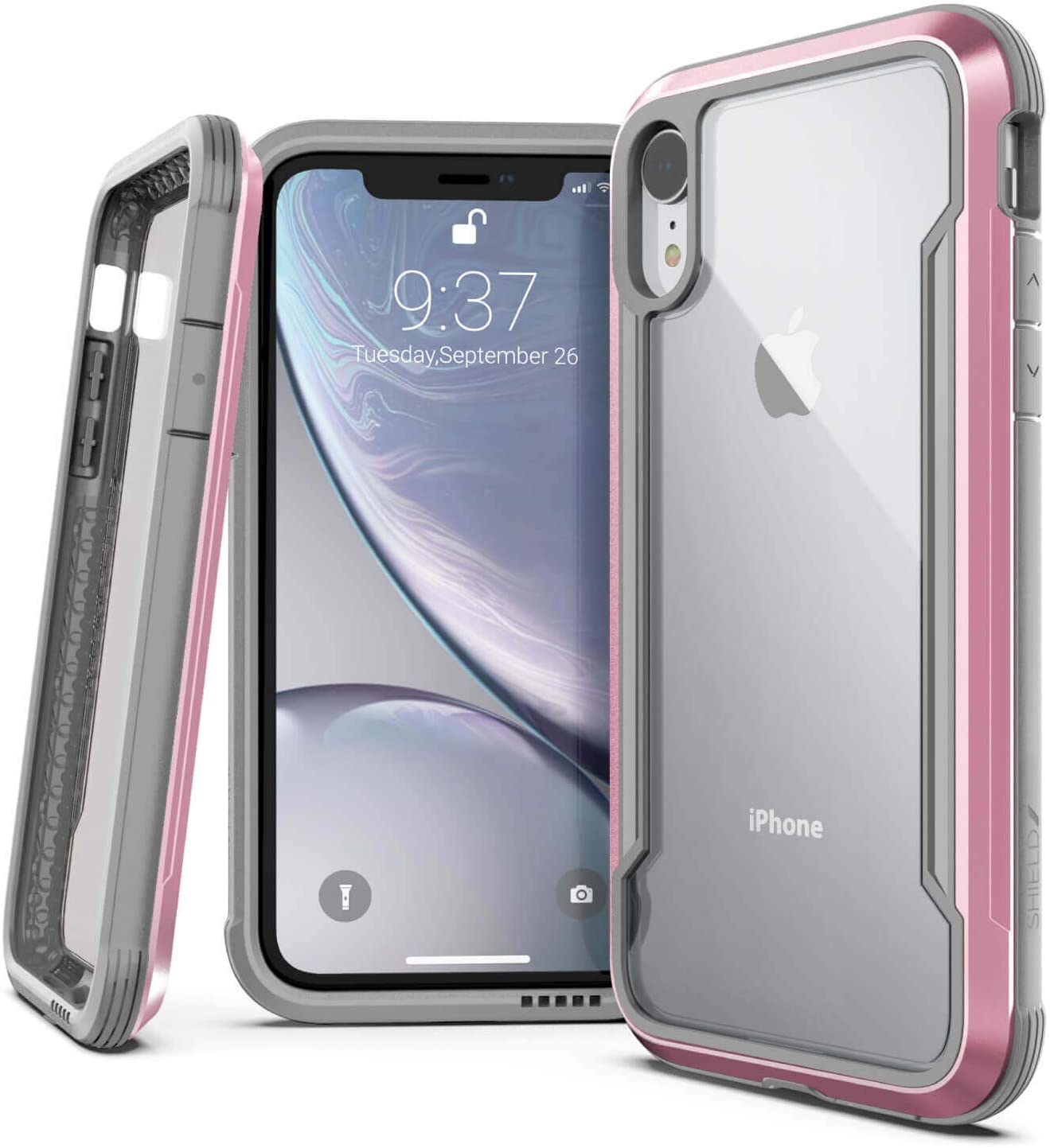 Raptic Shield, Compatible with Apple iPhone XR (Formerly Defense Shield) - Military Grade Drop Tested, Anodized Aluminum, TPU, and Polycarbonate Protective Case for Apple iPhone XR, (Rose Gold/Gray)