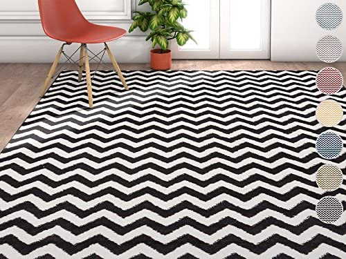 Wandering Chevron Black Zig Zag Modern Casual Geometric Area Rug 5×7 5 3 x 7 3 Easy to Clean Stain Fade Resistant Shed Free Contemporary Abstract Funky Fun Shapes Lines Living Dining Room Rug