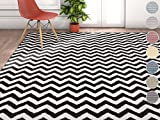 "Wandering Chevron Black Zig Zag Modern Casual Geometric Area Rug 8×10 8×11 ( 7'10"" x 10'6″ ) Easy Clean Stain Fade Resistant No Shed Contemporary Abstract Funky Fun Shapes Lines Living Dining Room Review"