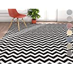 "Wandering Chevron Black Zig Zag Modern Casual Geometric Area Rug 8x10 8x11 ( 710"" x 106"" ) Easy Clean Stain Fade Resistant No Shed Contemporary Abstract Funky Fun Shapes Lines Living Dining Room"