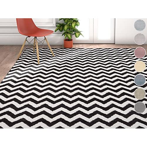 """Wandering Chevron Black Zig Zag Modern Casual Geometric Area Rug 5x7 ( 53"""" x 73"""" ) Easy to Clean Stain Fade Resistant Shed Free Contemporary Abstract Funky Fun Shapes Lines Living Dining Room Rug"""