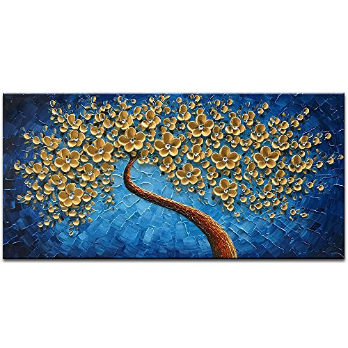 Blue Oil Painting (Okbonn-Large Gold and Blue Oil Paintings Modern Framed Tree Art 3D Hand Painted Artwork Abstract Flowers Pictures on Canvas Wall Art Ready to Hang for Living Room Bedroom Home Decor(24X48 inch))