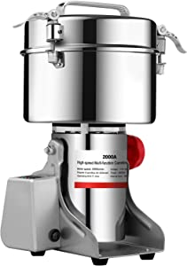 BI-DTOOL 2000gram Electric Grain Grinder Stainless Steel Pulverizer Grinding Machine Commercial Cereals Grain Mill for Kitchen Herb Spice Pepper Coffee with LCD Digital Display