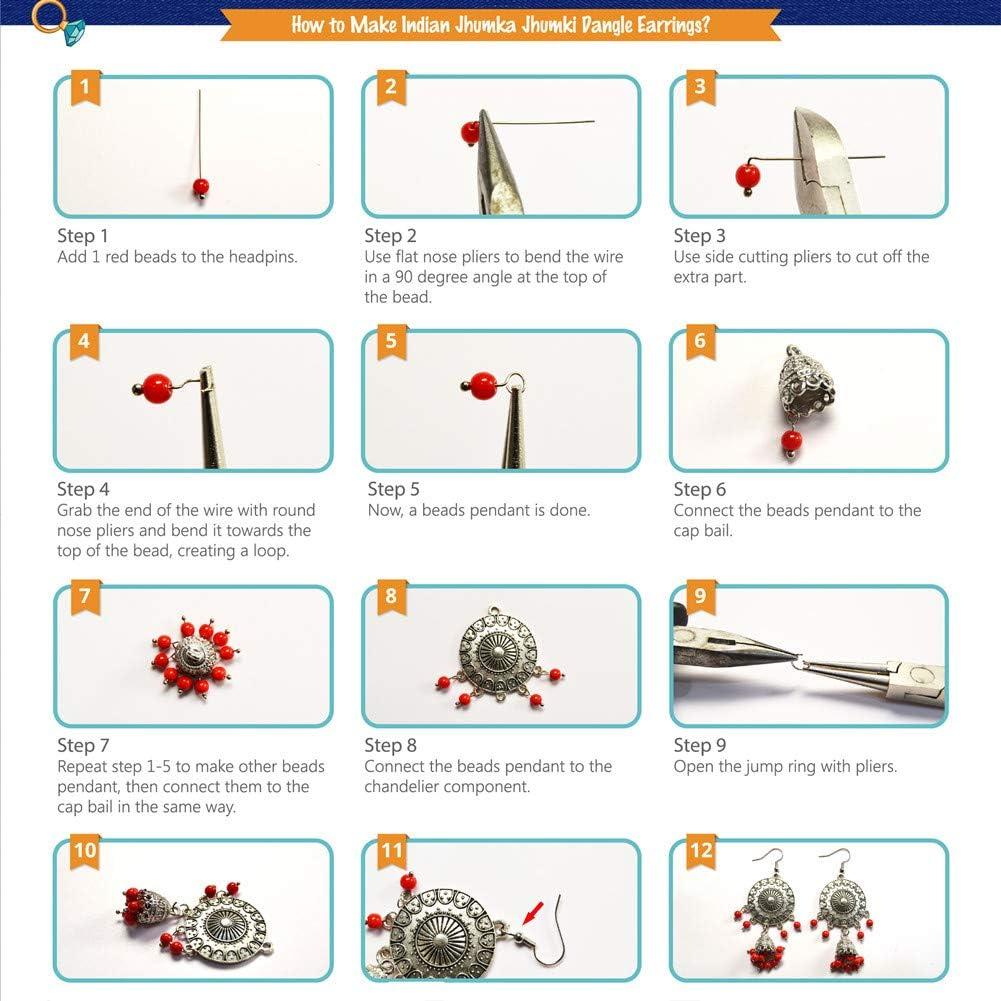 SUNNYCLUE 1 Box DIY 6 Pairs Traditional Ethnic Indian Earrings Indian Jhumka Jhumki Dangle Earrings Making Kit Jewellry Making Kit for Adults Women Girls Golden