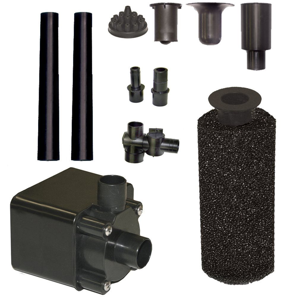 Beckett Corporation 800 GPH Submersible Pond Pump Kit with Prefilter and Nozzles - Water Pump for Indoor/Outdoor Ponds, Fountains, Fish Tanks, Aquariums, and Waterfalls - 12.9' Max Fountain Height, Black