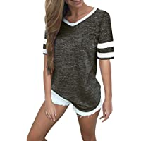 48fd934a Women Short Sleeve Shirts V Neck Color Block Stripe Patchwork Baseball  Tunic Tee Tops
