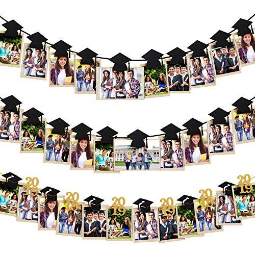 3 Pieces Grad Photo Banner Decoration Grad Cap Photo Clips Banner Garland Hat Shaped Photo Banner for 2019 Graduation Party Supplies (Style 2, 3 Pieces) ()