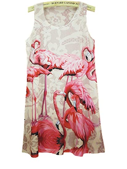 YICHUN Women Summer Long Tops Sleeveless Mini Dress Flamingo Shirt Dress Vest Tanks