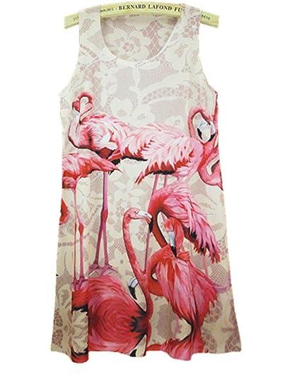 YICHUN Women Summer Long Tops Sleeveless Mini Dress Flamingo Shirt Dress Vest Tanks