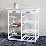 Thxbyebye Kitchen & Dining Room Cart 2-Drawer 3-Basket 3-Shelf Storage Rack with Rolling Wheels White