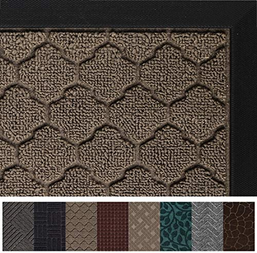 Gorilla Grip Original Durable Rubber Door Mat, 72×24, Heavy Duty Runner Doormat for Indoor Outdoor, Waterproof, Easy Clean, Low-Profile Rug Mats for Entry, High Traffic Areas, Beige Quatrefoil